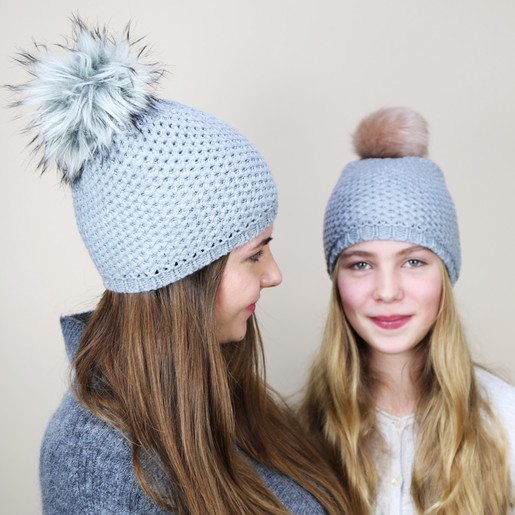 2b27a9bc6 Grey Interchangeable Pom Pom Hat