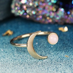 Gold Moon and Rose Quartz colour Resin Gem Open Ring In Gold