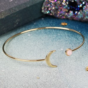 Gold Moon and Rose Quartz colour Resin Gem Open Bangle In Gold