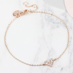 Crystal Heart Bracelet in Rose Gold