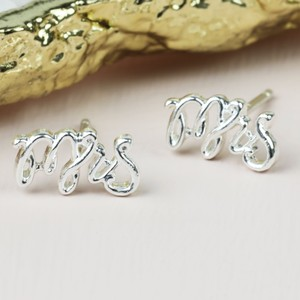 Delicate 'Mrs' Stud Earrings in Silver