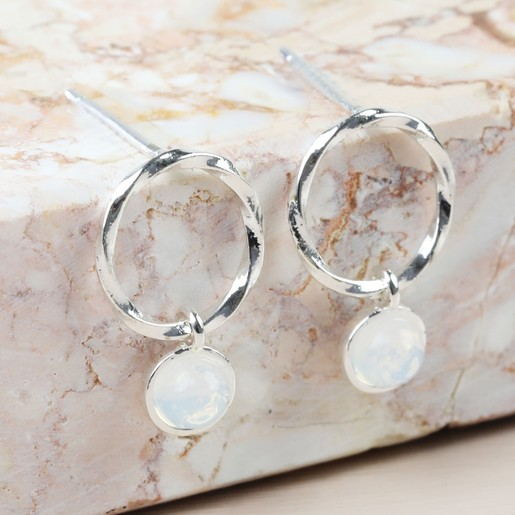 319064a7d0e44c Lisa Angel Ladies' Iridescent Stone Hoop Stud Earrings in Silver