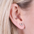 Crystal Heart Stud Earrings in Rose Gold on Model