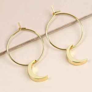 Moon Hoops in Gold