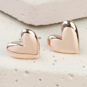 Rose Gold 3D Heart Earrings
