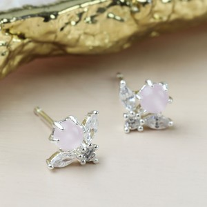 Silver Diamante and Pink Stone Flower Stud Earrings