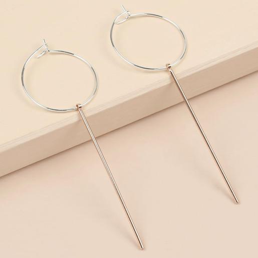 76813f9c7 Silver Hoop and Rose Gold Bar Earrings | Jewellery | Lisa Angel