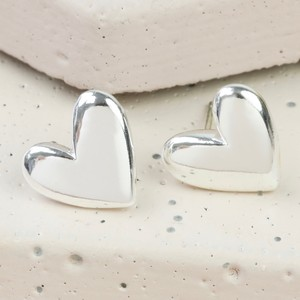 Silver 3D Heart Earrings
