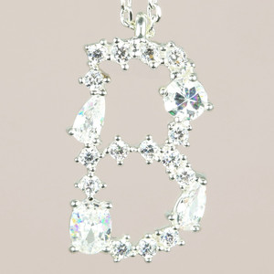 Diamante Initial B Necklace in Silver