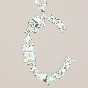 Diamante Initial C Necklace in Silver