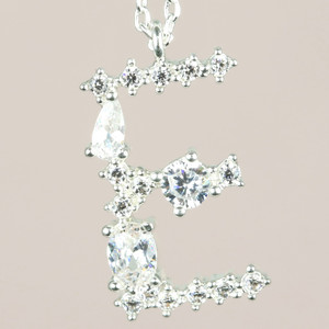 Diamante Initial E Necklace in Silver