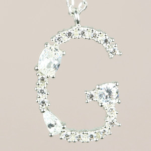 Diamante Initial G Necklace in Silver