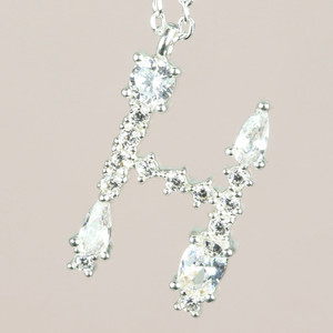 Diamante Initial H Necklace in Silver