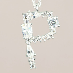 Diamante Initial P Necklace in Silver