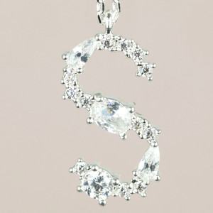Diamante Initial S Necklace in Silver