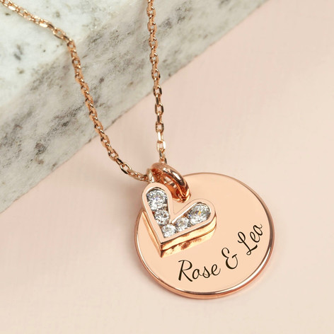 Personalised crystal heart pendant necklace lisa angel personalised crystal heart pendant necklace in rose gold aloadofball Images