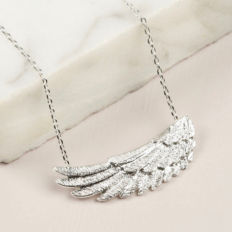 silver pav angel azendi double pendant wing pave jewellery
