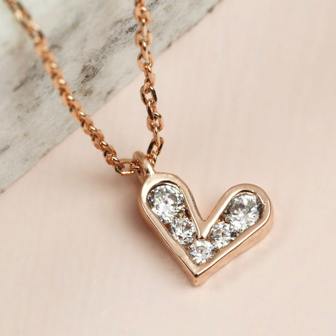 Crystal heart pendant necklace in rose gold lisa angel crystal heart pendant necklace in rose gold mozeypictures Image collections