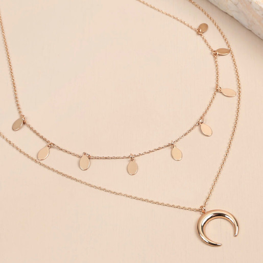 f59e7fdadbcdd Rose Gold Double Layer Horn Necklace