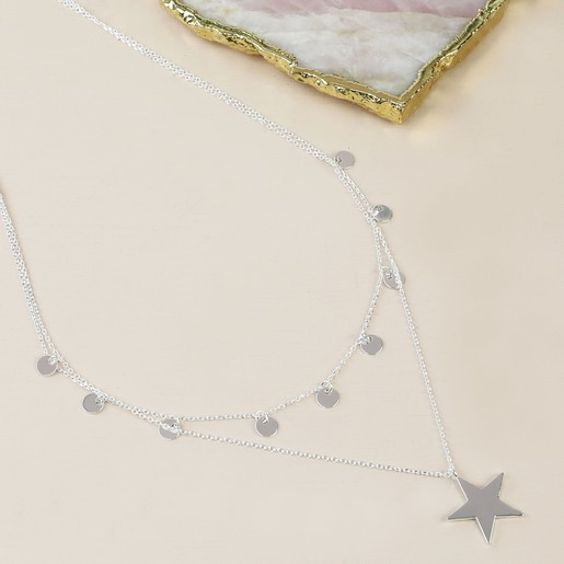 Layering necklace Silver star necklace Layered silver necklace Sterling silver necklace Minimalist Silver Necklace Gift Star pendant