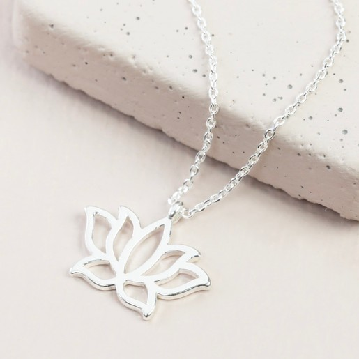 Lotus flower pendant necklace in silver lisa angel jewellery silver lotus flower necklace mightylinksfo