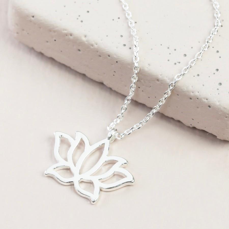 Lotus Flower Pendant Necklace In Silver Lisa Angel Jewellery
