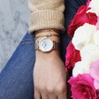 CLUSE La Roche Petite Mesh Rose Gold Watch in White Marble on Model