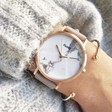 CLUSE La Roche Rose Gold Watch in White Marble on Model