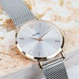 Women's CLUSE Minuit Mesh Rose Gold Watch in Silver