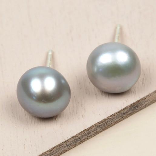 050d9279c7f Ladies  Grey Sterling Silver Freshwater Pearl Stud Earrings