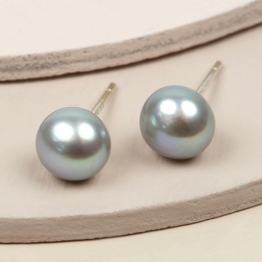 4066d185a96 Ladies  Medium Grey Sterling Silver Freshwater Pearl Stud Earrings