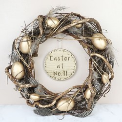 Easter gift ideas shop easter gifts decorations lisa angel personalised feather and twig nest wreath with golden eggs negle Gallery