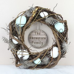 Easter gift ideas shop easter gifts decorations lisa angel personalised feather and twig nest wreath with pastel eggs negle Images