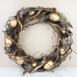 Easter gift ideas shop easter gifts decorations lisa angel feather and twig nest wreath with golden eggs negle Images