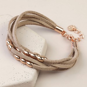 Light Brown  Suede Oval Beads Multi strand bracelet in Rose Gold