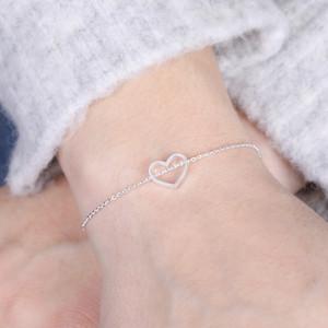 Open Heart Bracelet in Silver