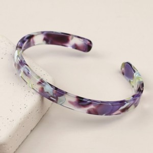 Purple Marbled Acrylic Open Bangle