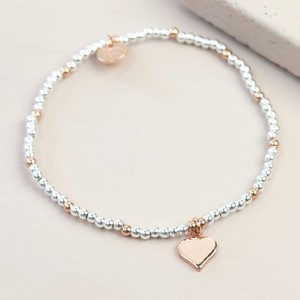 Rose Gold Heart beaded bracelet in silver and Rose Gold
