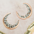 Ladies' Crystal Crescent Moon Earrings in Rose Gold