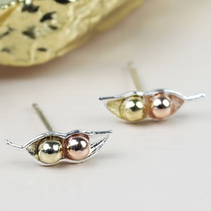 Mixed Metal Two Peas in a Pod Stud Earrings