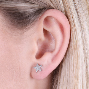Brushed Silver Star Stud Earrings
