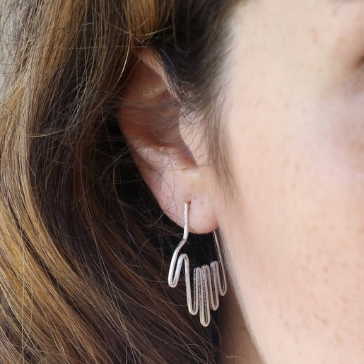 4aa62a202 Lisa Angel Ladies' Delicate Small Silver Hand Hoop Earrings. Silver Hand Hoop  Earrings on Model