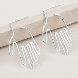 Silver Hand Hoop Earrings