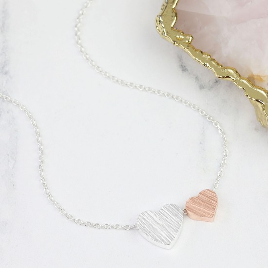 Brushed Double Heart Necklace in Silver & Rose Gold