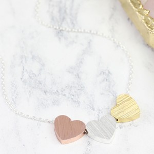 Brushed Mixed Metal Large Triple Heart Necklace