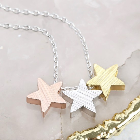 Brushed Mixed Metal Triple Star Necklace