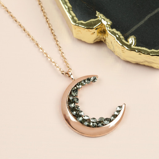 293db409972cc Crystal Crescent Moon Necklace in Rose Gold