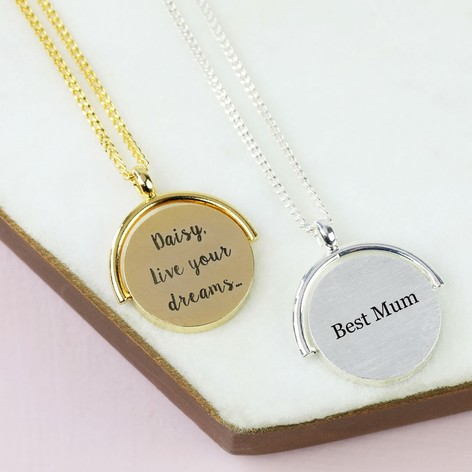 Engraved spinning disc necklace jewellery lisa angel engraved spinning disc necklace mozeypictures Gallery