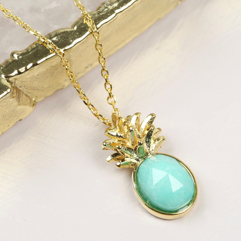 lia necklace tropical blue in pineapple jln chain hawaii with pendant sparkling cz