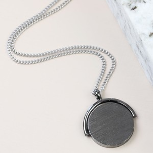 Men's Gunmetal Spinning Disc Necklace